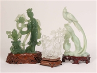 Three Chinese Carved Hardstone Sculptures