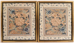 Two Chinese Similar Silk Needlework Pictures