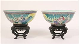 Pair of Chinese Figural-Decorated Porcelain Bowls