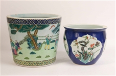 Two Chinese Porcelain Flower Pots
