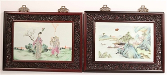 Two Chinese Framed Porcelain Wall Plaques