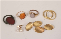 Pair of 750 Gold Cuff lings & Vintage Gold Rings