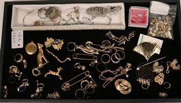 Group of Unmarked Gold Pins, Toe Rings, Earrings