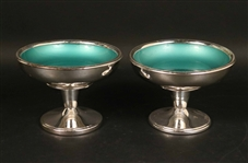Pair of Silver Plated and Enamel Footed Compotes