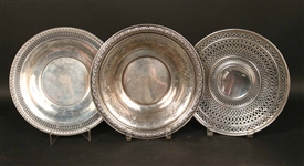Three Sterling Silver Circular Serving Pieces