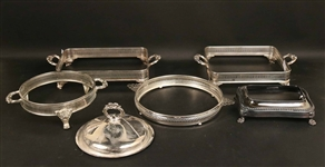 Five Silver Plated Chafing Dish Frames