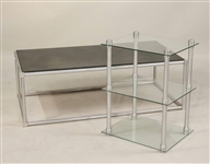 Two Modern Aluminum Tables