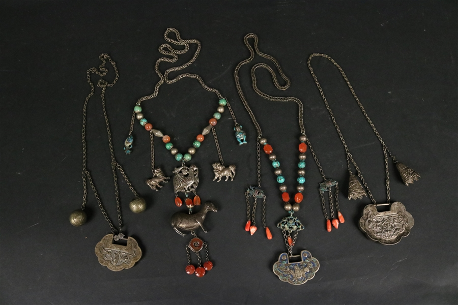Chinese Silver Necklace with Goat and Foo Dogs