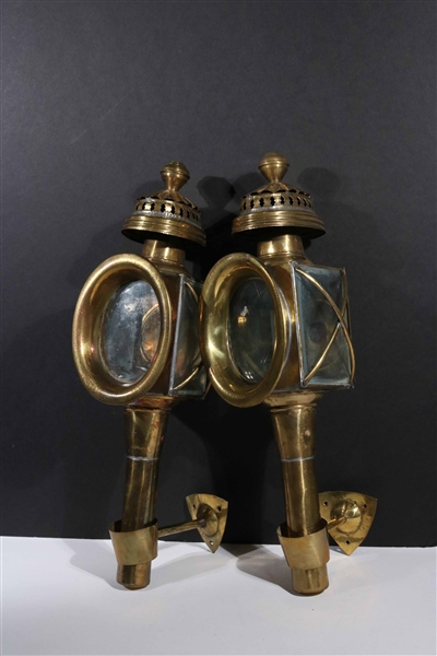 Pair of Brass Carriage Lanterns
