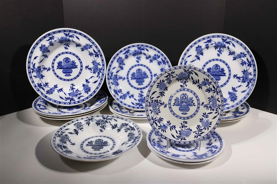 "English Minton ""Delft"" Pattern Plates and Bowls"