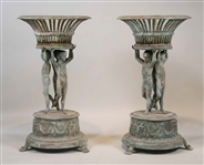 Pair of Neoclassical Style Bronze Plant Stands