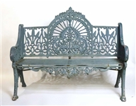 Green-Painted Cast Iron Bench