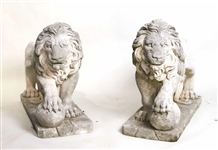 Pair of Cast Concrete Standing Lion Figures