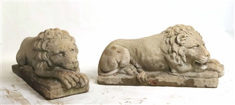 Pair of Cast Concrete Recumbent Lions