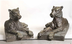 Pair of Contemporary Cast Metal Tigers