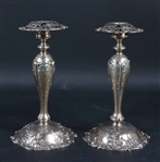 Pair of Sterling Reticulated Candlesticks