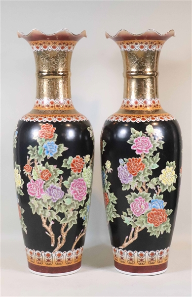 Monumental Pair of Famille Noir Porcelain Urns