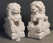 Pair of Chinese Carved Marble Temple Dogs