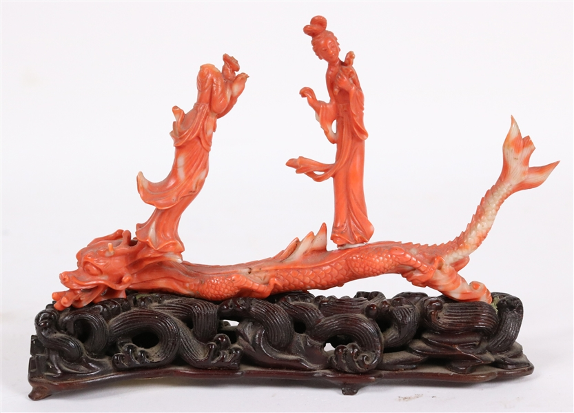 Small Coral Colored Hardstone Dragon Figure