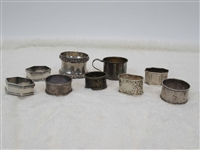 Eight Silver Napkin Rings