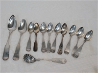 Set of Nine Coin Silver Teaspoons