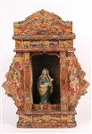 Carved Wood and Painted Madonna and Child Niche