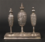 Chinese Export Silver Three Piece Oil Set