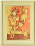 Print, Two Asian Figures with Cat, Sakti Berman