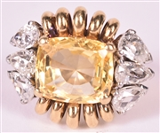 18K Yellow Gold Yellow Topaz Ring, Stamped Flato