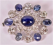 White Gold Spinel & Diamond Cluster Form Brooch