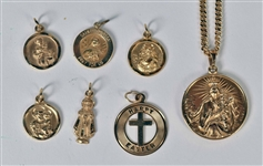 Seven 14K Yellow Gold Religious Medals With Chain