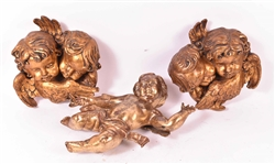 Pair of Giltwood Putti Wall Plaques