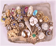 Group of 31 Gold, Diamond, Sticks Pins as Brooch