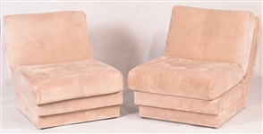 Pair of Modern Beige Suede Lounge Chairs
