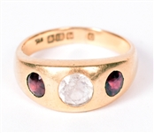 18K Yellow Gold Red & Colorless Hardstone Ring