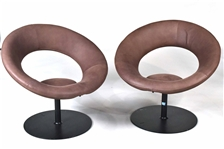 Pair of Round Brown Leather Cut-Out Swivel Chairs
