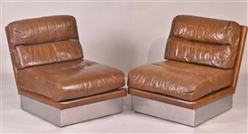 Vintage Brown Leather Sofa and Pair of Chairs