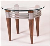 Modern Glass Top Metal Mounted Wood Side Table