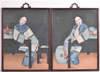 Pair Gouache On Paper Chinese Portraits