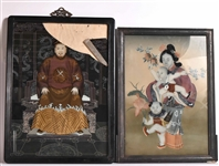 Two Chinese Reverse Painted Panels