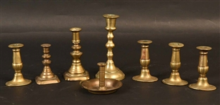 Group of Eight Brass Tapersticks