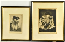 Two Etchings of Rabbis, Joseph Margulies