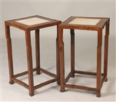 Pair of Chinese Marble Inset Hardwood Pedestals