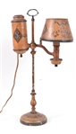French Painted and Stenciled Tole Student Lamp