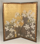 Chinese Painted Embossed Two Panel Screen
