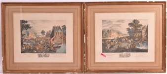 Pair of French Engravings of Village Scenes
