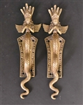 Pair of Gilt-Metal Thai Deity-Form Door Handles