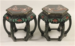 Pair of Chinese Lacquer Stools