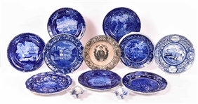 Nine Blue and White Transfer Decorated Plates