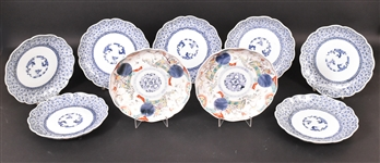 Seven Chinese Blue and White Porcelain Plates